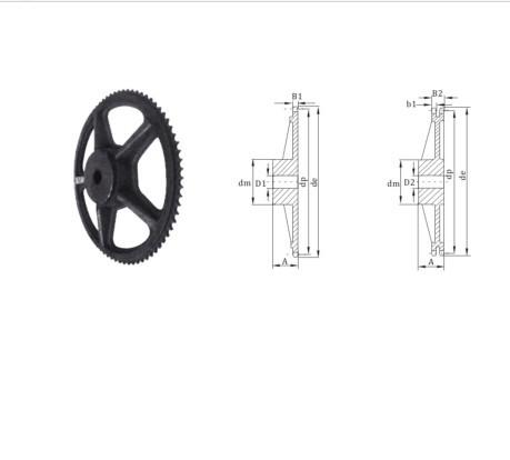 Kettenrad mit Pilotbohrung nach europäischer Norm Kettenrad aus Gusseisen 16 Kettenrad