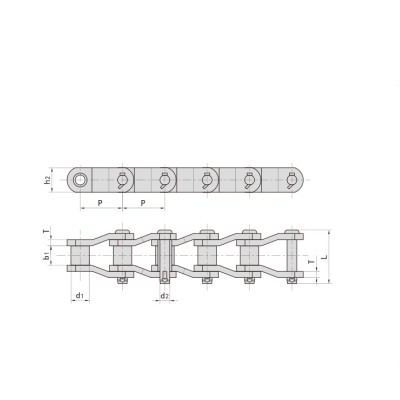 Stainless steel Cranked-link transmission chains SS124 Roller Chain High Quality China Supplier
