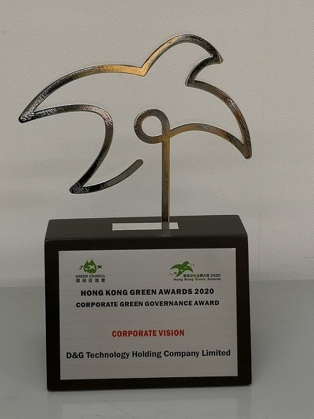 The trophy of Hong Kong Green Awards 2020 – Corporate Green Governance Award (Corporate Vision)