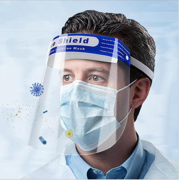 Large Instock Fast delivery CE FDA Disposable Plastic PET Protective Face Shield visors, Clear Full Medical Face Shield