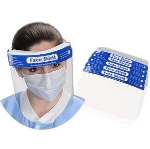 CE FDA Disposable Plastic PET Protective Face Shield visors, Clear Full Medical Face Shield