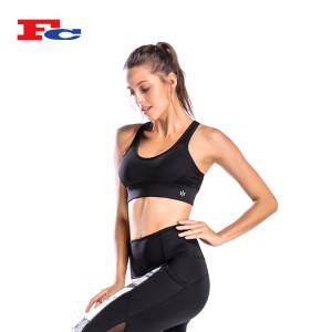 Black Sexy Dry Fit Women Strappy X Back Fitness Bra Wholesaler