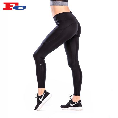 High Waist Black Nylon Elastane Yoga Pants Manufacturer