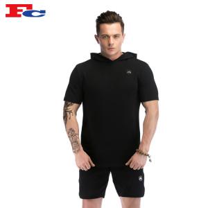 Wholesale Mens Hoodies Muscle Drop  Short Sleeve Cotton Gym Hoodie