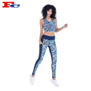 Workout Clothes Wholesale  Drak Blue Funky Printed Patterned Workout Clothes Manufacturer