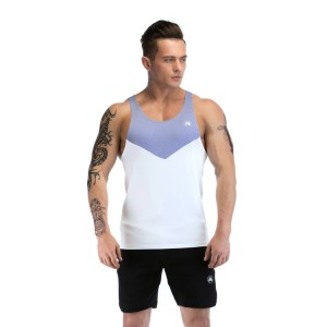 Gym Tank Tops Wholesale With Gray Blue Neckline