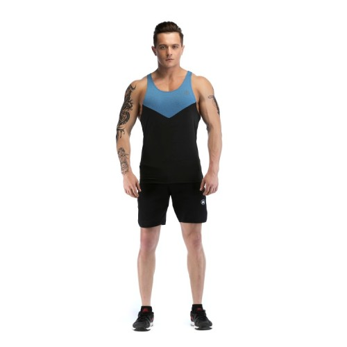 Mens Workout Tank tops Wholesale With  Dark Blue Neckline