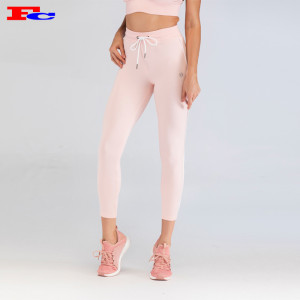 Pink With Elastic Rope And White Sides Fitness Leggings Wholesale