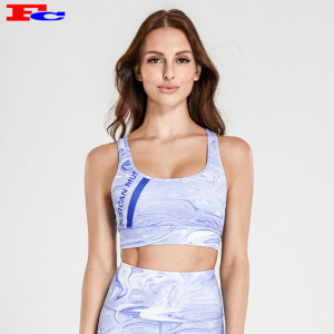 Blue And White Printed Sports Bras Wholesale