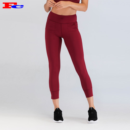 High-Quality Maroon Women's Gym Leggings Wholesale