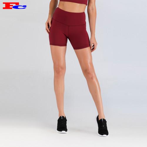 Wholesale Compression Shorts With Crimson High Waist- Fengcai Gymwear Manufacturer