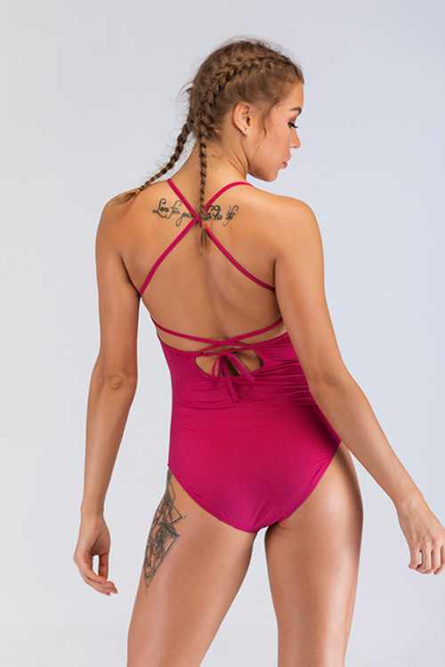 Rose Red One-Piece Workout Kleidung Großhandel