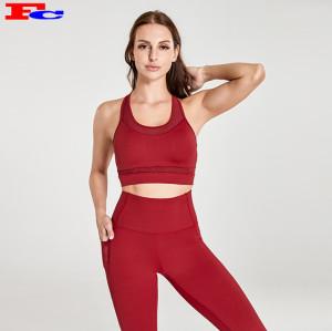Vente en gros de vêtements de yoga rouge positif