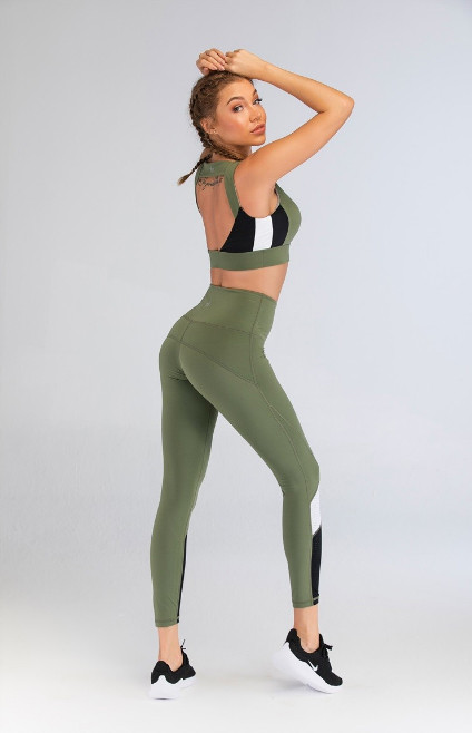 Grass Green Stitching Color Block Gym Wear Manufacturers