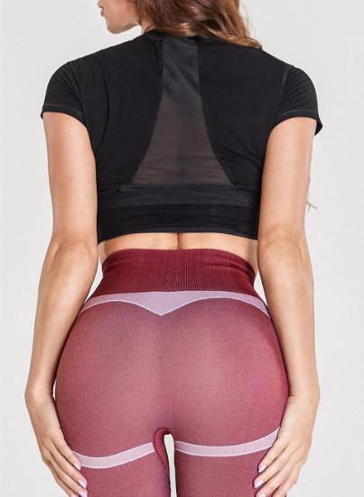 Großhandel Yoga-Kleidung mit schwarzen kurzen T-Shirts und nahtlosen Leggings