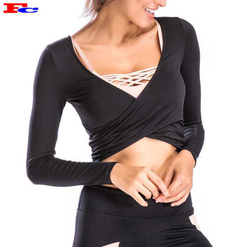 Long Sleeves Showing Belly Button Sexy Private Label T Shirts Wholesale