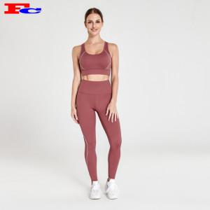 Leggings taille haute à encolure en V marron rougeâtre vêtements de remise en forme grossistes