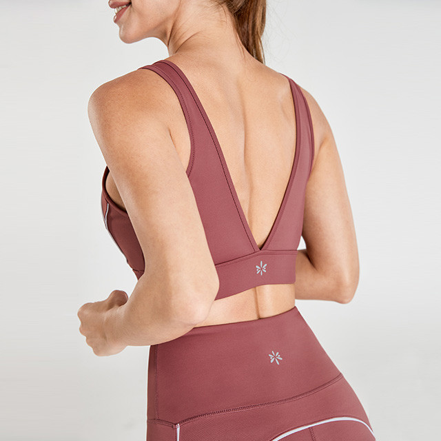 Rotbrauner V-Ausschnitt zurück Hohe Taille Leggings Fitness Kleidung Großhändler
