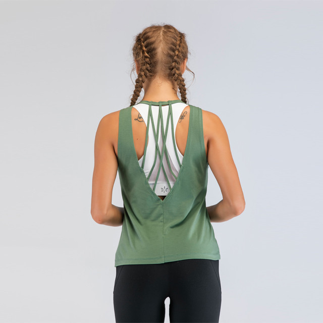 Grass Green Hollow Back Gym Tank Tops Großhandel