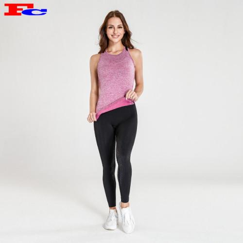 Nahtloses rosa Trägershirt und schwarze Leggings Yoga-Kleidung Großhandel