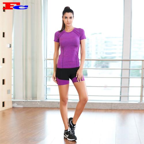 Lila T-Shirt und schwarze Shorts Activewear Hersteller