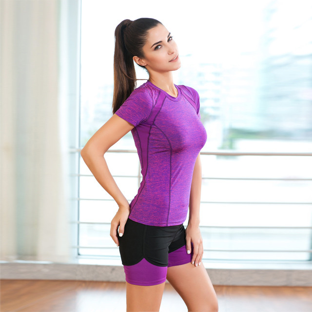 Purple T-shirt And Black Shorts Activewear Manufacturer