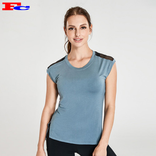 Grey Loose T-Shirt With Black Back Mesh Sports T Shirts Wholesale