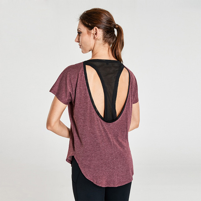 Coffee Red T-Shirt With Hollow Black Mesh Women's Dri Fit Shirts Wholesale