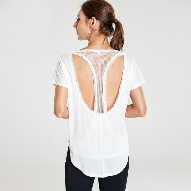 White T-Shaped Hollow Back Cheap Workout Shirts For Women