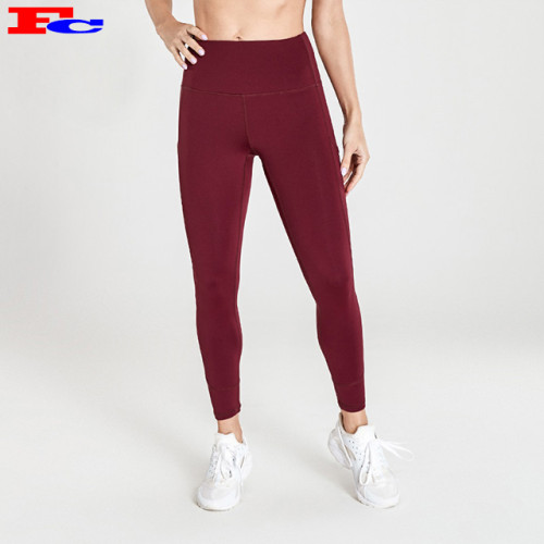 Red High Waist Womens Leggings Wholesale With Side Pockets