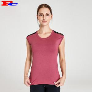T-shirt rouge brique avec des leggings noirs Fabricants de vêtements de sport