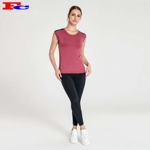 Brick Red T-Shirt With Black Leggings Activewear Clothing Manufacturers