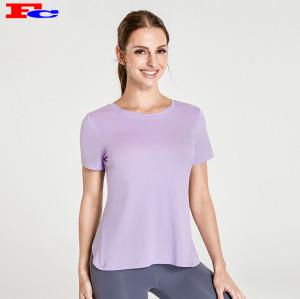 T-shirt croisé arrière violet clair et leggings gris foncé fabricants de vêtements d'entraînement