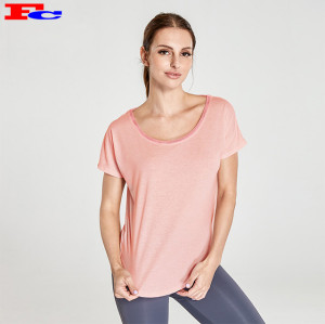 Vente en gros Vêtements d'entraînement T-shirt en maille en forme de T rose clair et leggings gris foncé