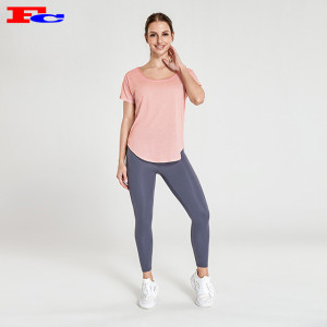 Wholesale Workout Clothes Light Pink T-Shaped Mesh Back T-Shirt And Dark Gray Leggings