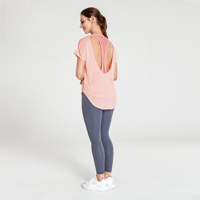 Vente en gros Vêtements d'entraînement T-shirt en maille rose en forme de T et leggings gris foncé
