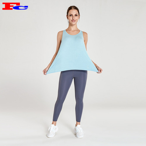 Sky Blue Loose Back Hollow Athletic Tank Tops Wholesale