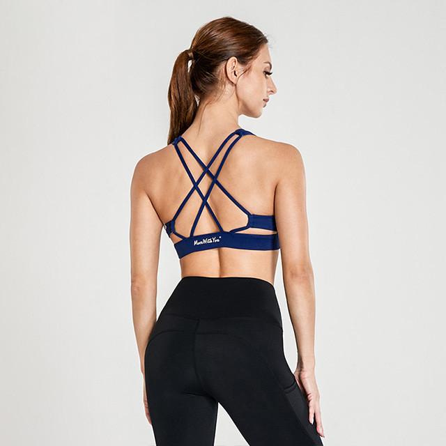 Dark Blue Back Cross Strap Buy Wholesale Sports Bras