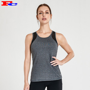 Gray And Black Stitching Polyester Spandex Stringer Tank Tops Wholesale