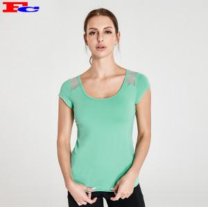 Vente en gros de t-shirts ajustés à col croisé en maille vert menthe