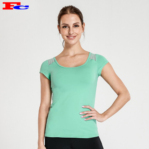 Mint Green Mesh Cross Back Kragen Slim Fit T-Shirts Großhandel