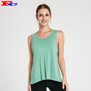 Mint Green  Sexy  Open Cross  Back Tank Tops Manufacturers