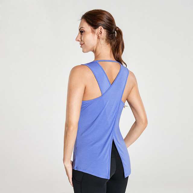 Königsblau Open Cross Sexy Back Athletic Tank Tops Großhandel