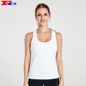 Débardeur blanc simple et leggings noirs Vêtements de sport en gros