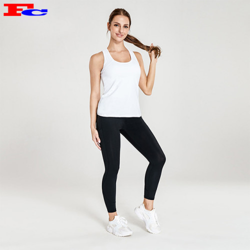 Simple White Tank Top And Black Leggings Gym Apparel Wholesale