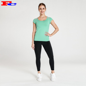 Mint Green T-Shirt And Black Leggings Yoga Wholesale Clothing