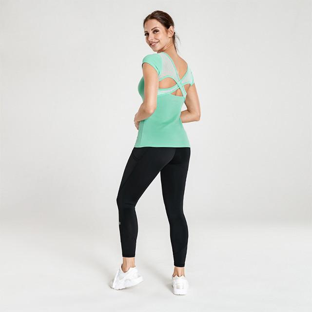 Mintgrünes T-Shirt und schwarze Leggings Yoga Großhandel Kleidung