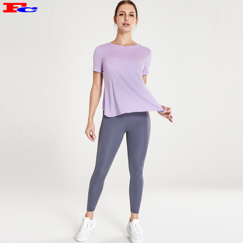 Vêtements de yoga en gros avec un T violet clair et un pantalon de yoga noir
