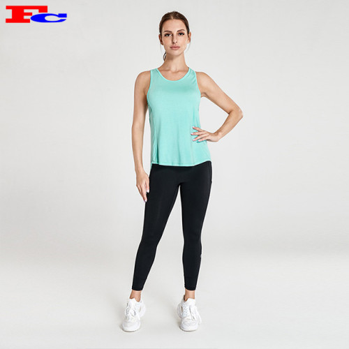 Mint Green Sleeveless Tank Top And Black Leggings Fitness Clothing Suppliers