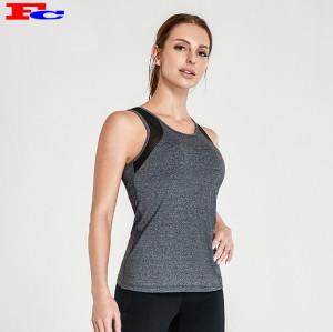 Vêtements de yoga en gros - Débardeur gris avec pantalon de yoga noir
